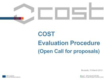 COST Evaluation Procedure (Open Call for proposals)