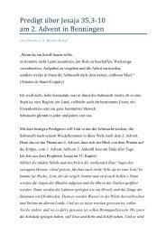 Predigt ü ber Jesaja 35,3-10 am 2. Advent in Benningen