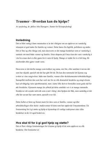 Traumer - Hvordan kan du hjelpe? - Bergen kommune