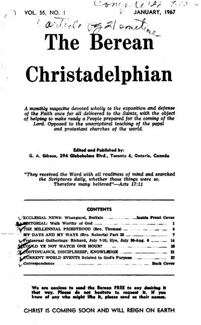 The Berean Christadelphian - 1967 - The Berean Ecclesial News