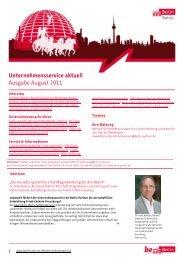 Unternehmensservice aktuell Ausgabe August 2011 - Berlin Partner ...