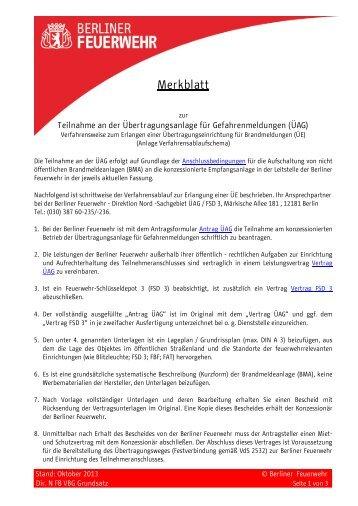 Merkblatt Berliner Feuerwehr