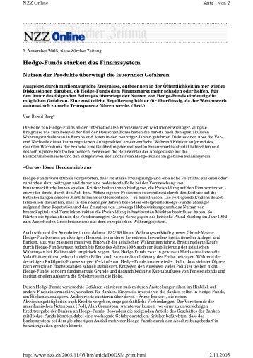 Hedge-Funds stärken das Finanzsystem - Berg, Bernd