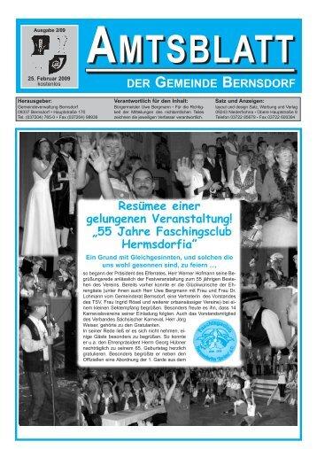 Amtsblatt der Gemeinde Bernsdorf vom 25. Februar 2009
