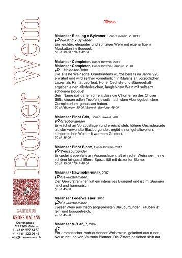 Boner Weine - Best of Swiss Gastro