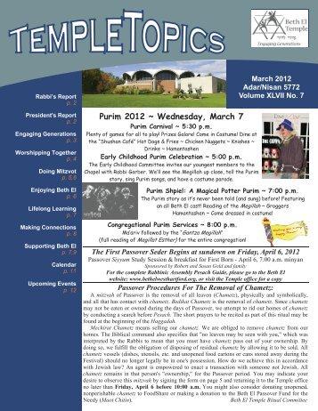 Purim 2012 ~ Wednesday, March 7 - Beth El Temple