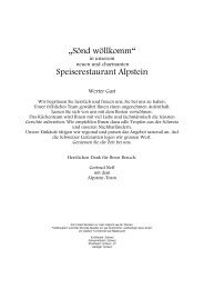 Speisekarte Restaurant Alpstein - Best of Swiss Gastro