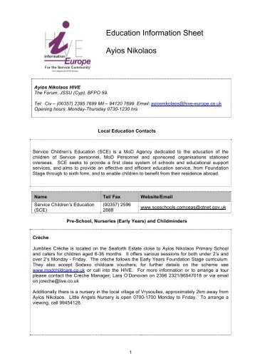 Education Information Sheet Ayios Nikolaos - BFGnet