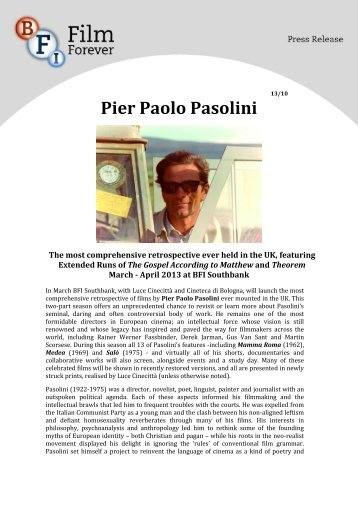 BFI press release: Pier Paolo Pasolini
