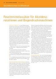 Feuchtmittelzusätze für Akzidenz- rotationen und ...