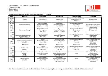 Stundenplan Rettungssanitäter - Bildungsinstitut - DRK