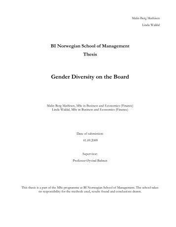 Gender Diversity on the Board - BI Norwegian Business School