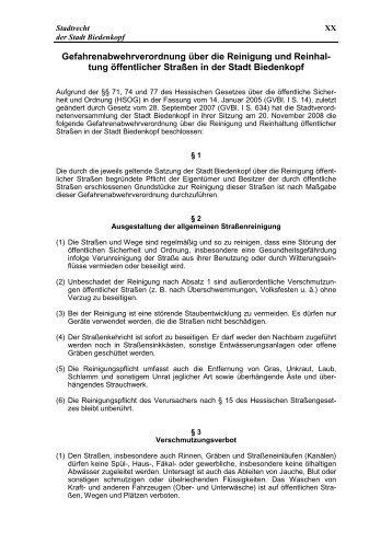 Gefahrenabwehrverordnung über die Reinigung ... - Stadt Biedenkopf