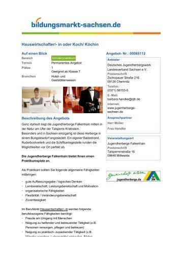 Hauswirtschafter/- in oder Koch/ Köchin - Bildungsmarkt-Sachsen.de