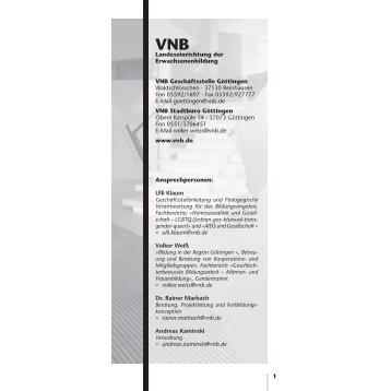 1 Landeseinrichtung der Erwachsenenbildung VNB Geschäftsstelle ...