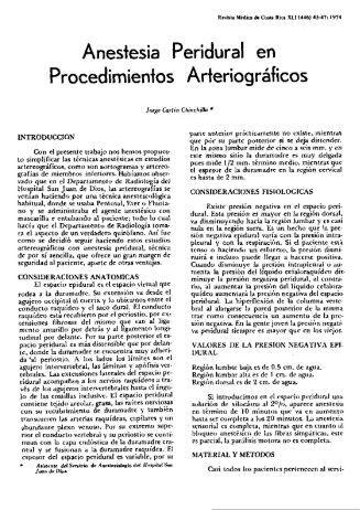 Peridural en Arteriográficos Anestesia Procedimientos - Binasss