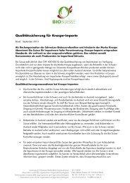 Qualitätssicherung für Knospe-Importe - Bio Suisse
