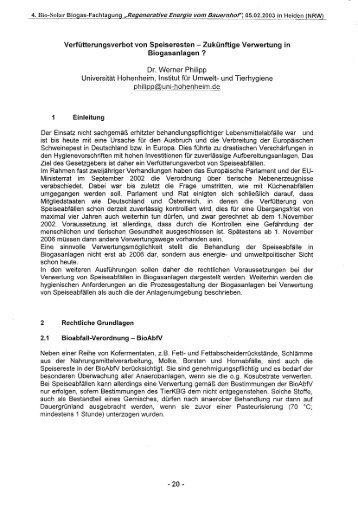 Verfütterungsverbot von Speiseresten ... - Biogas-Infoboard