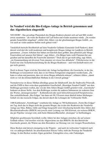In Neudorf wird die Bio-Erdgas-Anlage in Betrieb ... - Biogaspartner