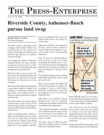 Riverside County, Anheuser-Busch pursue land swap - Center for ...
