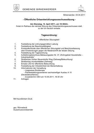 Tagesordnung - Birkenwerder