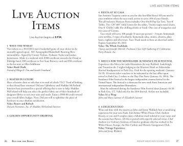 Live Auction Items - Bishop Miege High School
