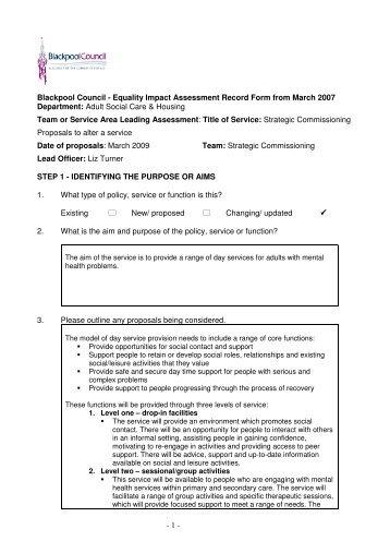 Day service [PDF 137KB] - Blackpool Borough Council