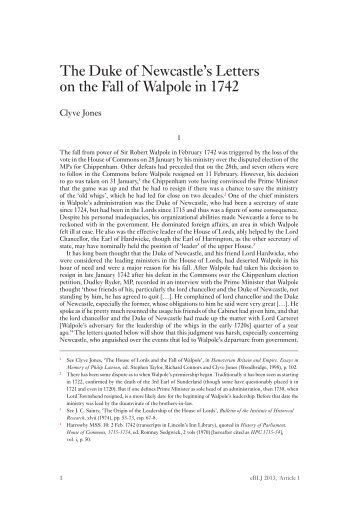 The Duke of Newcastle's Letters on the Fall of Walpole in 1742