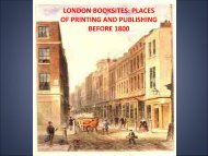 LONDON BOOKSITES: PLACES OF PRINTING AND PUBLISHING ...