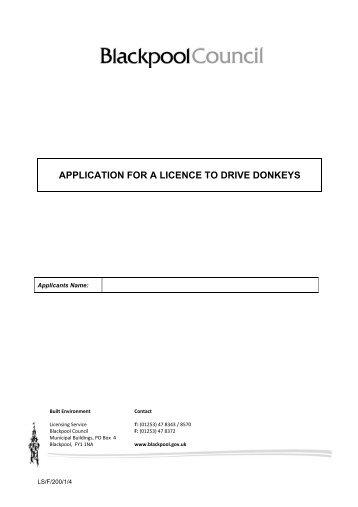 application form - Blackpool Borough Council