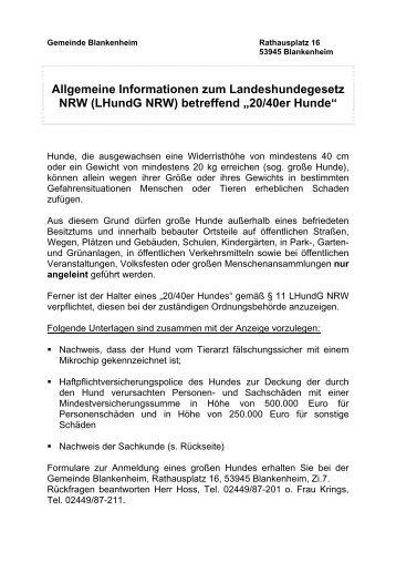 Erläuterungen und Informationen zum ... - Blankenheim