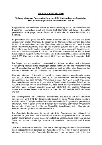 Stellungnahme zur Pressemitteilung der Kreis-CDU - Blankenheim