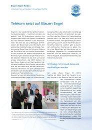 Telekom setzt auf Blauen Engel - Der Blaue Engel