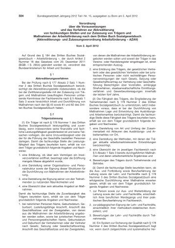 Akkreditierungs- und Zulassungsverordnung Arbeitsförderung (AZAV)