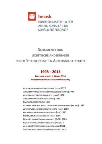 Dokumentation Legistische Änderungen in der Arbeitsmarktpolitik ...