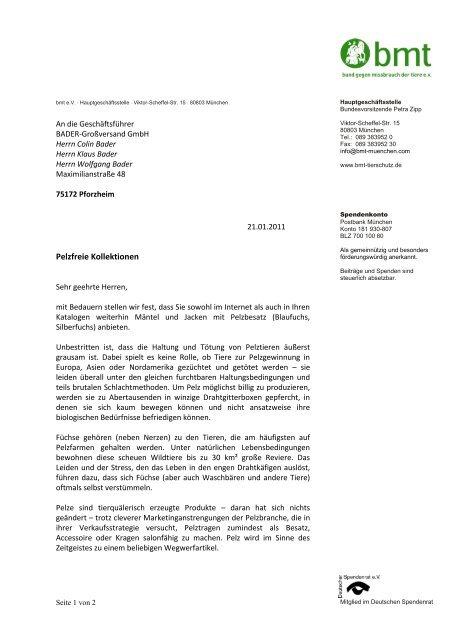 VIVA - Faxvorlage - Bund gegen Missbrauch der Tiere