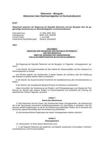 Österreich-Mongolei: Abkommen über Gleichwertigkeiten im ...