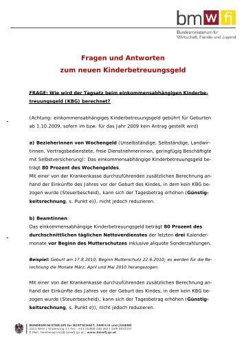 Fragen Und Antworten Zum Neuen Kinderbetreuungsgeld – BMWFJ
