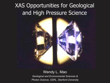 XAS Opportunities for Geological and High Pressure Science