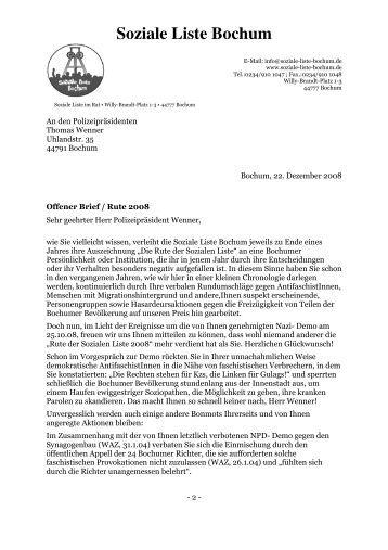 Offener Brief Wenner Rute