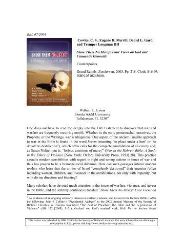 RBL 07/2004 Cowles, C. S., Eugene H. Merrill, Daniel L. Gard, and ...