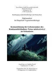 Kennzeichnung des Lebensraumes des Kaukasusbirkhuhnes ...