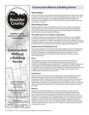 Construction Without a Building Permit (231 KB) - Boulder County