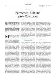 Fernsehen, Kult und junge Zuschauer - Bayerischer Rundfunk