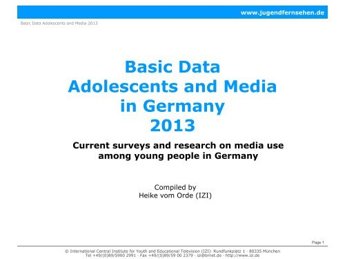 Basic Data Adolescents and Media in Germany 2013