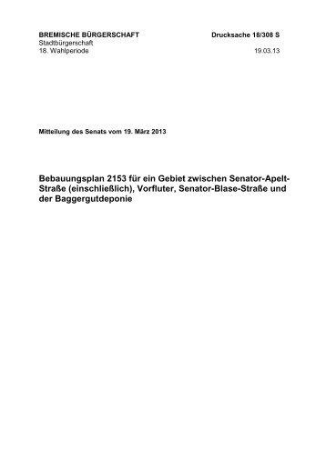 Bebauungsplan 2153 für ein Gebiet zwischen Senator-Apelt- Straße ...