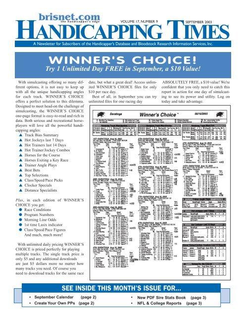Winner's choice! - Brisnet