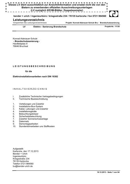 Lv Elektroinstallation Konrad Adenauer Schule Bruchsal