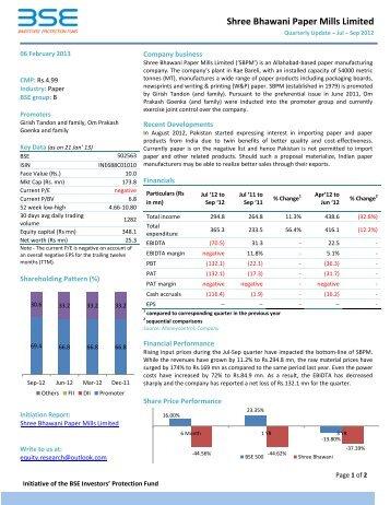 Shree Bhawani Paper Mills Limited - BSE