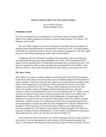 African American Slavery in Texas and Louisiana - University of ...